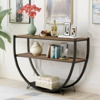 Make a stylish and sleek statement in your space with this understated and chic console table, featuring airy openwork design and clean-lined look that's perfect for transitional and contemporary aesthetics alike. Defined by a U-shaped base, this industrial console table brings a bit of eye-catching appeal to your look, while its distressed wood tabletop lets you stage any display in a simple style. Set it against on off-white or gray wall in the living room to complement its neutral tones...