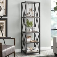 Always an alluring home for your favorite reads, a beautiful bookcase like this offers limitless style and storage possibilities! brimming with industrial appeal, this distinctive design features a clean-lined metal frame with openwork cross sides and four manufactured wood shelves. Set this stunner by a streamlined leather sofa to lend factory-inspired flair to your ensemble, along with gear sculptures and potted succulents for a decorative display. Organizing the entryway? This posh piece is...
