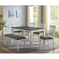 This is a modern farmhouse design in a convenient 6-pack dining group. Everything is taken care of for you in this group with four chairs, a bench and a dining table all finished in a distressed two-tone finish that can be used in the cottage, contemporary or transitional settings. You will love faux leather upholstered seating that is both easy-care and comfortable.