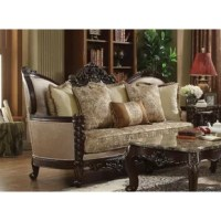 The designed idea of this sofa comes from a traditional European palace. The introverted light pattern fabric comes with a decorated pillow to show a different lifestyle. The intricately carved solid wood frame outlines the gracefully curved arms. Bring this elegant sofa to your living room to create a noble and stylish space that everyone will admire.