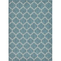 Space starting to feel stale? A pop of pattern is the perfect pick-me-up, and this eye-catching area rug is here to help! Equally, at home in classic and contemporary arrangements, it showcases a quatrefoil trellis motif in teal and gray tones for a splash of color. Power-loomed in Turkey from polypropylene with a low 0.16