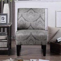 This Slipper Chair is made with a hardwood frame and upholstery flower pattern fabrics. The neutral and outstanding upholstery makes this slipper chair a vivid statement to any corner of the room. Add this chair to any room where a comfortable seat is desired, including bedrooms or a family space. The chair's unique all-over print is just the thing to add a lively and up-to-the-minute spin on your space.