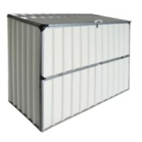 4 x 3 Fully engineered metal storage shed kit. Low-profile horizontal, lift up roof and drop down front door. Ideal for pumps, garden tools, BBQ grills, firewood, kids toys pump, pool pump/filter, animal feed, etc.