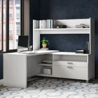 When it comes to creating the perfect workspace, nothing offers you space to spread out and keep every thing organized like an executive desk! This one, for example, is crafted in North America from commercial-use manufactured wood, and features a clean-lined design and white finish for a crisp, contemporary look. A hutch with an open shelf and lower credenza with three shelves and two drawers round this piece out with space perfect for stowing office supplies. And thanks to the 10-year...