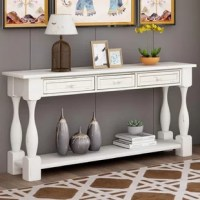 This antique distressed console table combines modern design with rustic charm, bringing a touch of uniqueness to your space. Compact footprint perfectly fills blank spaces in entryways, living rooms, dining rooms, dens, a study, and more.