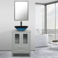 Urban and luxurious, this Wrought Studio Bathroom Vanity with Mirror and Vessel Sink set adds a contemporary vibe and practical storage to your bath. The collection's contrasting textures include a panel shelf, grid detailing, and smooth wood grid tops. Cupboard doors and a variety of storage options make it customized for your bathroom. The coordinating mirror reflects the contemporary style of this collection. Handcrafted from tempered glass by skilled artisans, each of the vessel sinks is a...