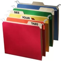 The Find It revolutionary, patented design lowers the top rail of the hanging folder so that the tabs of your manila folder are completely visible