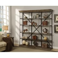 Clean, contemporary design meets rustic industrial style in this charismatic Mabie Library Bookcase. Tastefully distressed for a reclaimed aesthetic, this bookcase is crafted of solid and manufactured wood, while a wrought iron frame offers a sophisticated contrast. This bookcase strikes an expansive rectangular silhouette featuring crown moldings, open sides, an X-frame backing, and a plinth base. Rounding out the design, five shelves provide perfect platforms for displaying everything from...