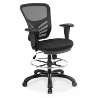 Complete all your tasks with ease in this Nidhi Mesh Drafting Chair. Whether you're using this chair in your home or at the office, comfort and style are there. Adjust the footrest to fit your needs, whether you're drafting a new skyscraper or taking a break at your sit-to-stand desk. A mesh back and a padded seat will keep you comfortable and supported all day long.