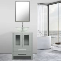 Urban and luxurious, this product set adds a contemporary vibe and practical storage to your bath. The white and black are made of MDF board, the gray vanity has been upgraded and is made of hardwood plywood which can provide long lasting daily use. The collection's contrasting textures include a panel shelf, grid detailing, and smooth wood grid tops. Cupboard doors and a variety of storage options make it customized for your bathroom.