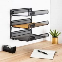 Keep files corralled in the office or recipes organized in the kitchen with this essential organizer, featuring a 3-tiered mesh design.