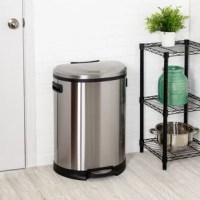 Honey Can Do stainless steel half moon step trash can. A contemporary addition to any home or office, this 50L trash can boasts sturdy construction for daily use. The hand print resistant exterior is easy to clean and features a slow close lid to prevent slamming.