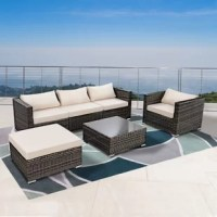 This 6 pieces cushioned patio set have contemporary looks and flavor offers comfortable and exceptionally stunning outdoor lounging. The sofa feature exquisitely woven wicker with sloping curves and soft yet supportive cushioning. The seat cushions are designed to last long and stay beautiful through years of use. What's more, the table features a tempered glass top. It is perfect for the pool side, deck or patio. These cushioned seats will let you and your guests to sit back, relax and enjoy...