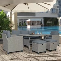 Create your perfect outdoor retreat with this attractive 6 Piece Outdoor Patio Conversation Set.  This set comes with 2 armchairs, 1 three-seater sofa, 2 ottomans, and 1 dining table.  Each piece is made from hand-woven durable PE rattan over a powder-coated steel frame, allowing it to withstand most weather conditions with minimal maintenance.  Relax in any of the chairs with its 2.8