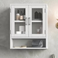 Like to have a little more space in your bathroom? The stylish Double Door wall cabinet gives you just that, with two tempered glass doors opening to an adjustable shelf and a large open shelf. Fill it up with all of the toiletries that you normally have on the counter and your bathroom will look uncluttered and spacious.; Efforts are made to reproduce accurate colors, variations in color may occur due to computer monitor and photography; we believe in creating excellent, high quality products...