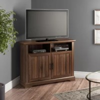 Give the corner of your living room or seating arrangement a touch of style with this rustic TV stand. Capable of holding flatscreens up to 50