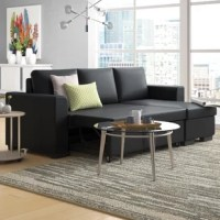 Whether you're entertaining guests or having family stay for a weekend, this compact sectional lets you do both. It features a tightly upholstered faux leather. Expand and contract the unit with the attached handles. This sectional also includes storage located in the chaise.