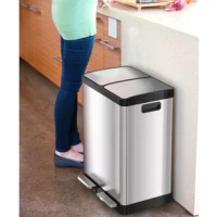 This 2 in 1 unit offers a quick and easy way to separate recycling and trash. The 2 independent plastic inner buckets have a carry handle so taking out the trash and recycling is simple and mess-free. It's perfect for the home or office kitchen.