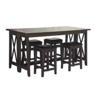 This versatile counter dining table is functional, practical, and beautiful. With mindi veneers and hardwood solids you are guaranteed a piece that is durable and will provide you with many years of use. The accompanying stools feature a black performance fabric with nail head accents for added detail and value. The warm brown finish will create a comfortable and welcoming environment in your home while looking simply gorgeous. Take advantage of the optional drop leaf that doubles the width...