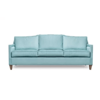 This sofa has classic lines, with an unexpected curved back that sets it apart from the average sofa. Sleek arms add to a streamlined silhouette. This unique piece is perfect for any living room.