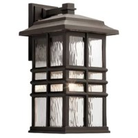 Ideal for illuminating recessed areas of architecture or hardscaping – such as pathways, stairways, and the like – outdoor wall fixtures bring style and utility to every home's exterior. Featuring a classic lantern look finished in olde bronze, this one-light fixture brightens outdoor spaces without looking gaudy. This lantern's cage stands up to UV rays, saltwater sprays, and beyond, while hammered glass shades protect a 60 W A19 incandescent bulb (not included).