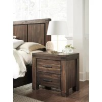 Whether sidled up beside your sofa or acting as a nightstand in your teen's restful retreat, this end table is always a stylish stage. Crafted from solid wood, it strikes a clean-lined silhouette and boasts a natural wood grain finish for a touch of rustic style. Plus, it includes two drawers on ball-bearing glides for keeping clean clothes, toys, spare linens, you name it! Measures 25'' H x 27'' W x 18'' D.
