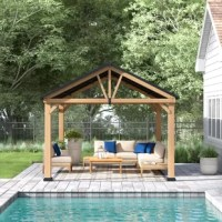 Expand your living space by bringing the indoors outside and creating your end-of-the-day oasis that's the perfect spot for entertaining family and friends. This 12 ft. x 10 ft. gazebo by the world's leading ready-to-assemble outdoor structure maker, Sunjoy, creates the perfect outdoor setting for any time of the year. Spend all four seasons enjoying a covered spot outdoors under the Cedar wood frame with a sturdy rust-resistant powder-coated steel roof top that will stand the test of time....