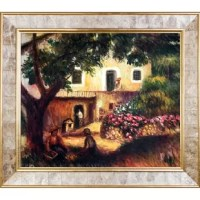 Hand painted oil reproduction of a famous Renoir painting, The Farm. The original masterpiece was created in 1914. Today it has been carefully recreated detail-by-detail, color-by-color to near perfection. In the 1870's Renoir's Impressionist technique reached its peak, with glorious accomplishment. His fully defined technique rendered facial expressions and movements masterfully. He spent weeks and sometimes months perfecting his paintings. Why not grace your home with this reproduced...