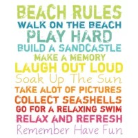 Showcasing a beach-chic typographic motif, this artful canvas print is a charming addition to your foyer or gallery wall.