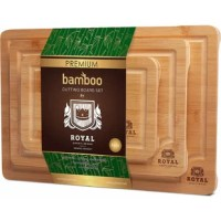 """Enjoy Cooking Your Favorite Meals With Three Bamboo Boards!  Cooking becomes a pleasure when there's an accessory for every cutting and chopping task. Royal Craft Wood is happy to introduce a cutting board set - use 3 boards to cook small meals, party platters for large companies, and middle-size family dinners.  Key features:  -3 optimal sizes: 15""""x10""""x0.6"""", 12""""x8""""x0.6"""", 9""""x6""""x0.6""""; -Minimalistic and sleek design; -Convenient side handles; -Knife-friendly surface; -100%..."""