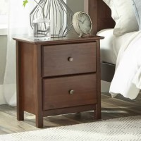 "Attractive metal knobs and elegant Shaker style: this luxurious-looking Shaker 2 Drawer Nightstand has what it takes to give your bedroom that refined touch. Its modernized traditional style to create timeless decor, while adding lots of storage with two spacious 6.5"" deep drawers. Made of 100% Solid Pinewood, this Shaker 2 Drawer Nightstand features a sturdy construction that can last for years. Featuring an eco-friendly design, this Shaker 2 Drawer Nightstand has minimal impact on the..."