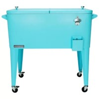 This vintage style 80 QT Steel Patio Cooler cart will add elegance to any backyard and outdoor patio. Entertain your guests with this beautiful powder-coated steel Patio Cooler that is well constructed with its insulated basin to keep your beverages cold up to 36 hours. It holds up to 110 – 12oz cans with plenty of room for ice. Featuring injected molded insolation to keep your drinks cold for the duration of the party and beyond, powder-coated finish for long life, and split double lid for...