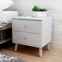 Let your teen tuck away bedside essentials in style with this streamlined nightstand. Made from manufactured wood, it features two drawers on metal glides that provide a place for vitamins, contacts, books, and beyond. Splayed legs bring a bit of mid-century modern flair, while a neutral finish gives this design the versatility to complement any color palette. Standing just 22