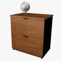 This collection conjugates working and living with style. It offers various storage possibilities for an organized work environment. Durable commercial grade surface with a finish that resist scratches, stains and wears. The vertical file offers two file drawers with letter and legal filing system.