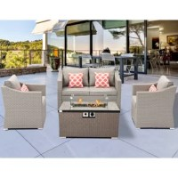 This multi-sectional patio couch set and the taupe wicker propane fire table go together with any way you like. The stylish fire pit draws in an audience to keep warm as they chat around the fireside, admiring your taste in outdoor furniture. Your family and guests will love this elegant set!