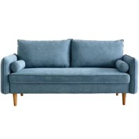 This light luxury style sofa embellishes your living room more smart and sharp. This velvet sofa is designed to impress. You can feel smooth when touching the sofa surface. Removable cylinder bolsters and back cushions allow you to have plenty of room for lounging and sleeping. This sofa offers superior comfort to you and your family.