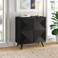 This Accent Cabinet's geometric patterned facade gives it subtle depth and texture. With two adjustable shelves, getting the space you need isn't an issue. Thanks to gorgeous wood veneer detailing, expect compliments to come easy, too. Whether you need somewhere to put movies in the living room or china in the dining room, this accent cabinet brings style anywhere you could use extra storage.