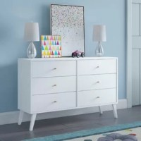 The 6 drawer dresser is a modern take on a retro look, with a sleek mid-century modern design that adds a touch of vintage styling to your bedroom. Six drawers run smoothly on metal glides, offering easy access to storage for clothing and bedroom items. The tapered solid wood legs and inset drawers deliver a clean and modern look to your bedroom. Brushed brass finished knobs add to the retro-chic design of this functional and fashionable dresser.