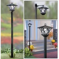Add some wireless solar lighting to your outdoor living area with their solar LED street lamp. Each lamp post can be mounted 2 different ways and can stand up to 5' tall. Solar lamp post is versatile, convenient and makes an impressive statement in your yard. Post stakes securely in the ground and is perfect for lighting a walkway or path. Lantern can be mounted atop the stake, or can hang from the adjustable hanger included. Includes 1