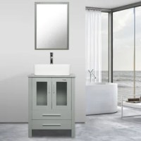 Urban and luxurious, this bathroom vanity with mirror and vessel sink set adds a contemporary vibe and practical storage to your bath. The collection's contrasting textures include a panel shelf, grid detailing, and smooth wood grid tops. Cupboard doors and a variety of storage options make it customized for your bathroom. The coordinating mirror reflects the contemporary style of this collection. Handcrafted from tempered glass by skilled artisans, each of the vessel sinks is a functional work...
