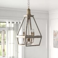 Pairing eye-catching style and a bright design, no piece can add light to a room like chandeliers! This one is perfect for a French country look, thanks to its openwork, teardrop metal shade and weathered white finish. Inside the geometric shade, four 60W candle-style lights (bulbs not included) are gathered around a central post to help this piece wash your space in a warm glow. This chandelier measures 29'' H x 15'' W x 15'' D, so it's the perfect size for entryways or over dining room...