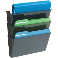 DocuPocket Wall File holds letter-size documents and files. Stackable wall file is made from durable, recycled plastic. Plastic contains a minimum of 50 percent recycled material.