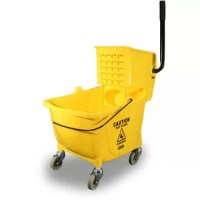 Mop Bucket with Wringer features a 26 to 35 quart capacity for a more efficient way to clean large areas. Higher back reduces strain to allow comfortable wringing. Lower front offers easier placement of mops to prevent back strain. Smooth surface lets you quickly wipe down the exterior to maintain sanitary use. Non-marking casters roll smoothly for effortless mobility.