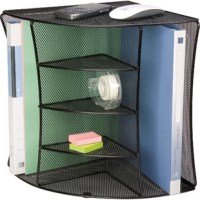 Steel mesh corner organizer provides four shelves to organize your small items, with files in reach in two side pockets. As a corner organizer in a vertical position, it fits perfectly in a 90-degree corner. Or it can be used in a horizontal position as a radius organizer. Recyclable organizer includes black powder coat finish.