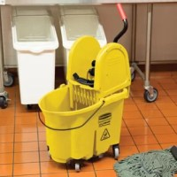 This product is designed for the large commercial cleaning jobs. Foot-pedal water evacuation is conveniently located so no lifting is required. Mop bucket and wringer system reduce splashing, which means a safer environment, cleaner floors, and improved productivity. Wringer lasts 58 times longer than comparative wringers. High-efficiency down press wringer has been tested to exceed 50,000 wringing cycles. Mop bucket/wringer system is made of premium tubular steel and structural web-molded...