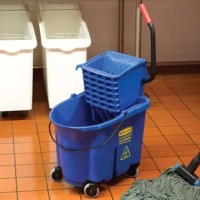 This product reduces splashing, which means a safer environment, cleaner floors, and improved productivity. High capacity is made for the largest commercial cleaning jobs. Wringer system lasts 58 times longer than comparative wringers. High efficiency side press wringer has been tested to exceed 50000 wringing cycles. Mop bucket/wringer system is made of premium tubular steel and structural web molded plastic. Foot pedal water evacuation is conveniently located, with no lifting required, for...