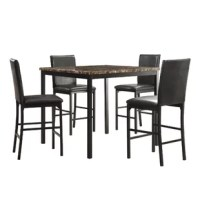 Simple, elegant and immediately familiar, with a livable look that blends with any style. Gorgeous faux marble top with black metal legs. This is a clean, modern table, generously proportioned for gathering friends and family.