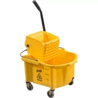Splash Guard Mop Bucket/Wringer Combo includes a mop bucket and wringer splash guard system, and 3'' nonmarking casters. Bucket has international symbol for ''Caution'' printed on both sides.