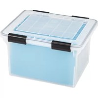 Store and organize your important documents with the letter/legal size hanging file box. Features a weather tight seal to block out dust debris. Holds either letter or legal size hanging files.