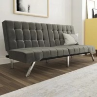 A must-have for smaller spaces, convertible sofas let you go for lounging during the day to getting some sleep in at night. Take this one for example: founded atop six polished metal legs, its understated, armless frame is defined by its velvet upholstery in a neutral solid tone. Whether you're sitting upright or kicking back, you're sure to be doing so in style thanks to the rows of tufts dotting the seat and back.